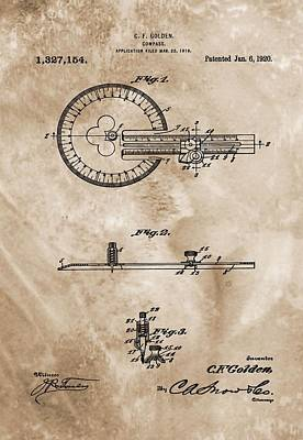 Gps Digital Art - 1920 Compass Patent by Dan Sproul