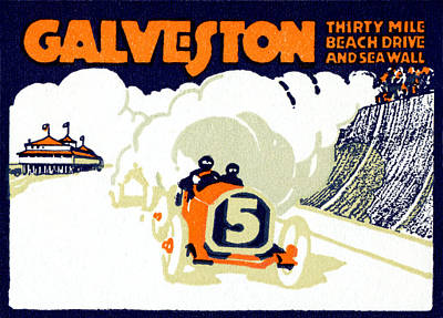 Galveston Painting - 1920 Galveston Texas Auto Race by Historic Image