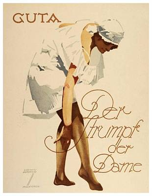 1920 - Guta Stockings Advertisement - Ludwig Hohlwein - Color Art Print