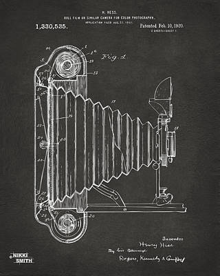 Vintage Camera Wall Art - Digital Art - 1920 Hess Camera Patent Artwork - Gray by Nikki Marie Smith