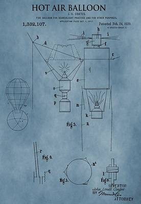 Aviator Mixed Media - 1920 Hot Air Balloon Patent Blue by Dan Sproul