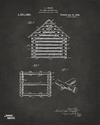 1920 Lincoln Log Cabin Patent Artwork - Gray Art Print