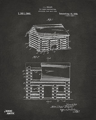 Log Cabin Art Digital Art - 1920 Lincoln Logs Patent Artwork - Gray by Nikki Marie Smith