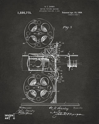 Digital Art - 1920 Motion Picture Machine Patent Gray by Nikki Marie Smith