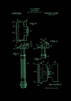 1920 Razor Chadwick Patent Art Green Art Print