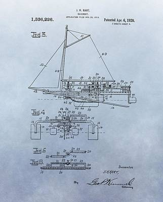 Boating Digital Art - 1920 Sailboat Patent by Dan Sproul