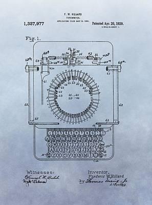 1920 Typewriter Patent Art Print by Dan Sproul