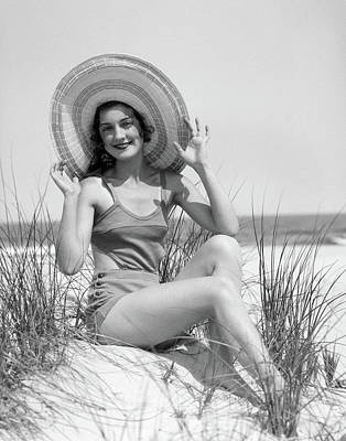 One Piece Swimsuit Photograph - 1920s 1930 Smiling Bathing Beauty by Vintage Images