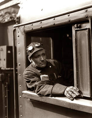 Driving Out Photograph - 1920s 1930s 1940s Railroad Train by Vintage Images