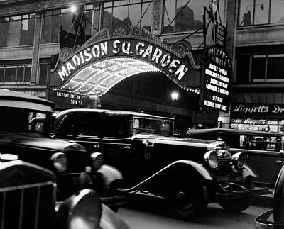 Drugstores Photograph - 1920s 1930s Cars Taxis Madison Square by Vintage Images