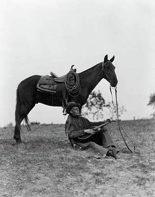 1920s 1930s Cowboy Sitting Art Print