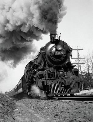 1920s 1930s Steam Engine Pulling Art Print