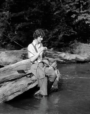 1920s 1930s Woman Sitting On Rock Art Print