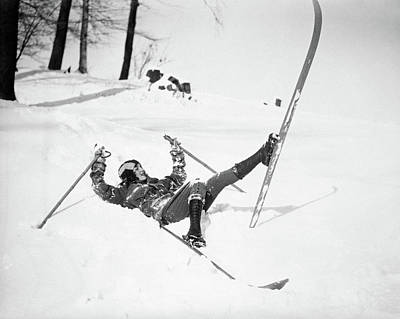 Awkward Wall Art - Photograph - 1920s 1930s Woman Wearing Skis Lying by Vintage Images