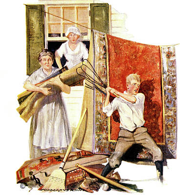 Baseball Bats Painting - 1920s Family Doing Spring Cleaning Boy by Vintage Images