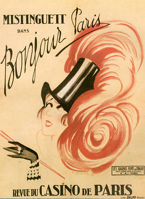 Bonjour Drawing - 1920s France Mistinguett Poster by The Advertising Archives