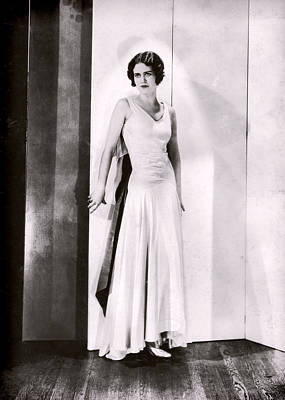 Photograph - 1920s Glamor Girl In White Satin by Louise Kumpf