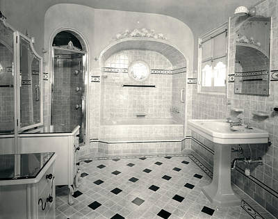 1920s Interior Upscale Tiled Bathroom Art Print