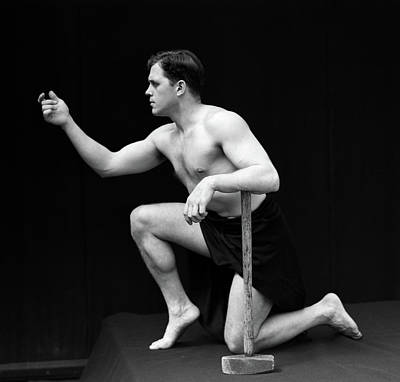 Black And White Studio Nude Photograph - 1920s Male Model Semi Nude Classical by Vintage Images