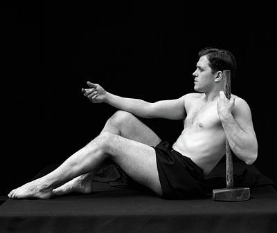 Black And White Studio Nude Photograph - 1920s Man Semi Nude Classical Pose by Vintage Images