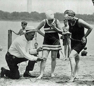1920's Officer Measuring Bathing Suits Art Print by Jeff Taylor