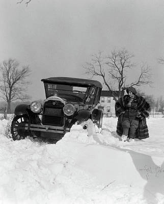 1920s Packard Stuck In Snow Bank Art Print