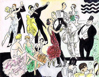 Lipstick Drawing - 1920s Party by Mel Thompson