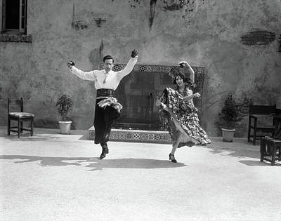 Folkloric Photograph - 1920s Smiling Couple Dressed In Spanish by Vintage Images