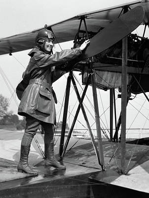 1920s Smiling Woman Aviator Turning Art Print