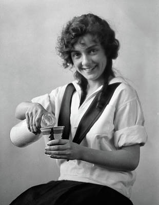 Milk Bottle Photograph - 1920s Smiling Young Woman Sitting by Vintage Images