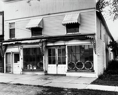 Storefront Photograph - 1920s Storefront Of Ford Automobile by Vintage Images