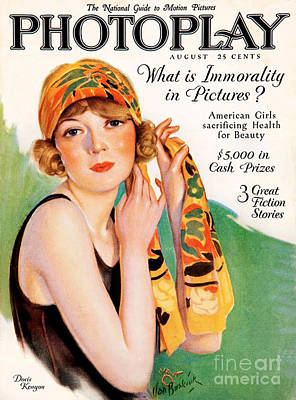 Drawing - 1920s Uk Photoplay Magazine Cover by The Advertising Archives