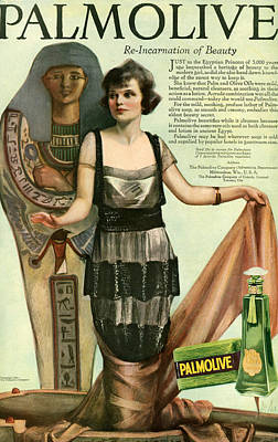 Egyptian Mummy Drawing - 1920s Usa Palmolive Magazine Advert by The Advertising Archives