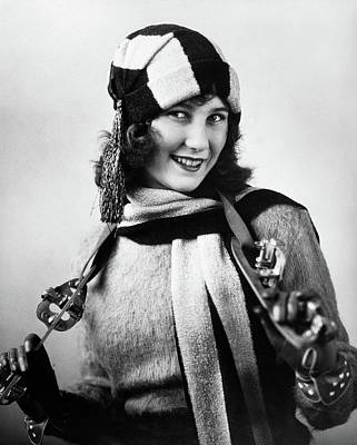 Figure Skater Photograph - 1920s Woman Wearing Sweater Scarf & Hat by Vintage Images