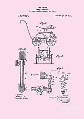 Digital Art - 1921 Baby Carriage Pink Patent Art by Lesa Fine