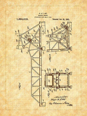 Drawing - 1921 Bascule Iron Bridge Patent by Barry Jones