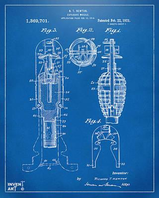 1921 Explosive Missle Patent Blueprint Art Print by Nikki Marie Smith