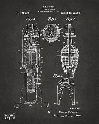 Digital Art - 1921 Explosive Missle Patent Gray by Nikki Marie Smith