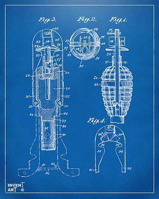 Digital Art - 1921 Explosive Missle Patent Minimal Blueprint by Nikki Marie Smith