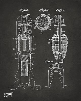 Digital Art - 1921 Explosive Missle Patent Minimal Gray by Nikki Marie Smith