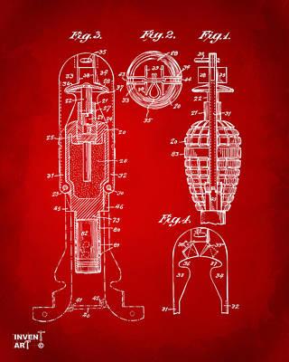 Digital Art - 1921 Explosive Missle Patent Minimal Red by Nikki Marie Smith