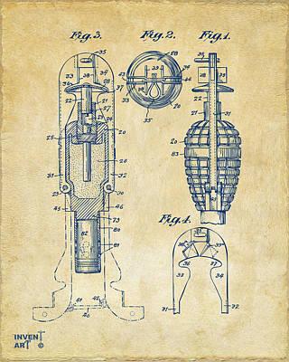 Digital Art - 1921 Explosive Missle Patent Minimal Vintage by Nikki Marie Smith