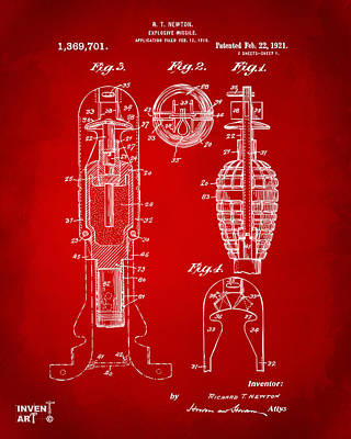 1921 Explosive Missle Patent Red Art Print by Nikki Marie Smith