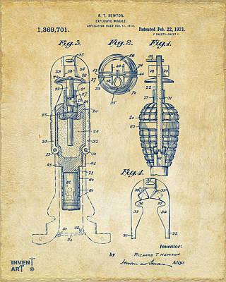 Digital Art - 1921 Explosive Missle Patent Vintage by Nikki Marie Smith