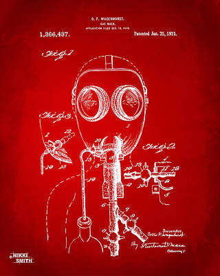 1921 Gas Mask Patent Artwork - Red Art Print by Nikki Marie Smith
