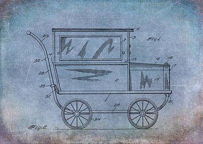 1921 Kilmer Patent Baby Carriage Blue Aged Art Print by Lesa Fine