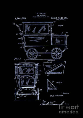 1921 Kilmer Patent Baby Carriage-inverted-blue Art Print