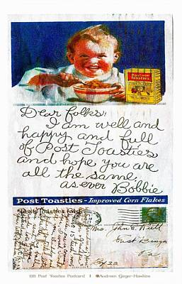 Photograph - 1921 Post Toasties Postcard by Audreen Gieger