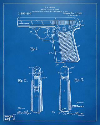 Old Man Digital Art - 1921 Searle Pistol Patent Artwork - Blueprint by Nikki Marie Smith