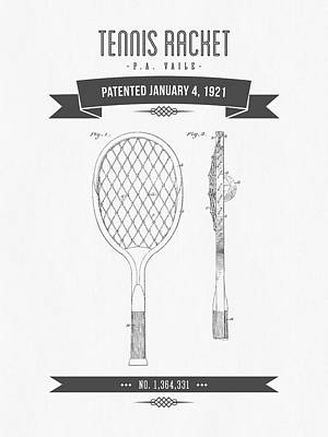 1920s Flapper Girl - 1921 Tennis Racket Patent Drawing - Retro Gray by Aged Pixel